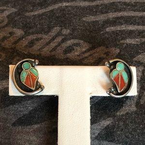 Vintage Zuni Inlay Sterling Earrings